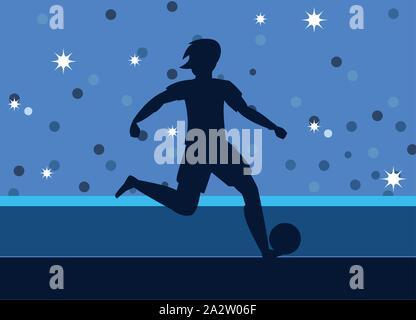 soccer player man kicking the ball on - Stock Photo