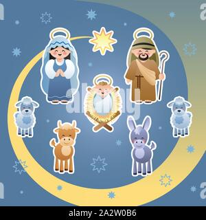 Christmas Nativity Scene. The Holy Family, Star of Bethlehem, Donkey, Bull and Sheeps. Cute cartoon characters. Vector illustration. - Stock Photo