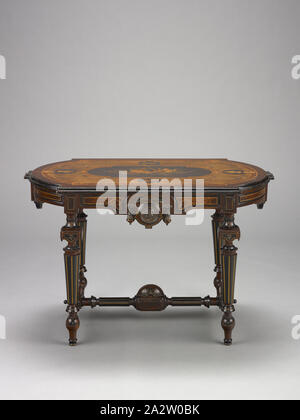 center table, Unknown, about 1870, wood, ebonized gilt, incised bronze medallions, 28-1/4 x 44-1/8 x 27 in., American, Decorative Arts - Stock Photo