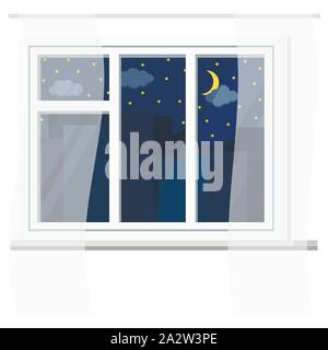 White plastic window with curtains, urban night view with sky, stars, clouds, crescent, silhouettes of city buildings. - Stock Photo