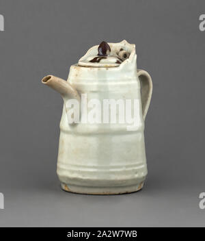 ewer with cover, White Glaze, 4-1/4 h, Asian Art - Stock Photo