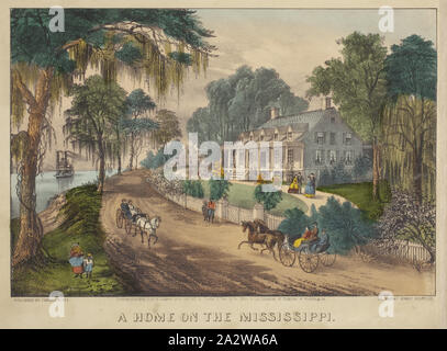 A Home on the Mississippi, Nathaniel Currier (American, 1813-1888), James Merritt Ives (American, 1824-1895), 1871, hand-colored lithograph, 8-1/2 x 12-1/2 in. (image) 10-1/4 x 14-1/8 in. (sheet - Stock Photo