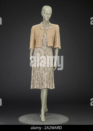 dress and jacket, Unknown, about 1940, silk crepe, A) dress: center back 44 in., center front 40-1/2 in., bust 32 in., waist 27 in., hips 33 in., sleeve length 11-1/2 in., shoulders 13-1/2 in. B) jacket: center back 19 in., center front 12-1/2 in., bust 35 in., waist 30 in., sleeve length 16 in., shoulders 14-1/2 in., American, Textile and Fashion Arts - Stock Photo