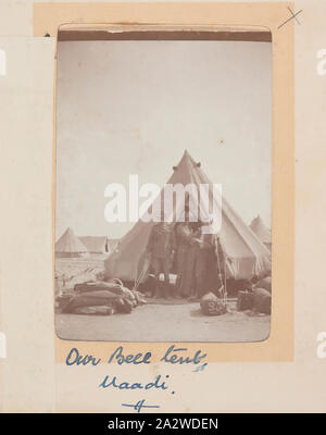 Photograph - 'Our Bell Tent', Maadi, Egypt, Trooper G.S. Millar, World War I, 1914-1915, One of 49 photographs in an album from World War I likely to have been taken by Troop (later Lieutenant) G.S. Millar depicting the Light Horse camp in Egypt, 1915, prior to Gallipoli. Image depicting the tent used by G.S. Millar and others, presumably the servicemen depicted in the photograph. Within the Light Horse Regment the men were allocated to Bell Tents located near the horse lines - Stock Photo