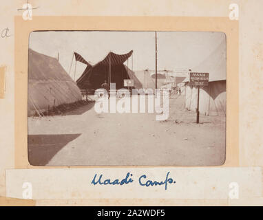 Photograph - 'Maadi Camp', Maadi, Egypt, Trooper G.S. Millar, World War I, 1914-1915, One of 49 photographs in an album from World War I likely to have been taken by Troop (later Lieutenant) G.S. Millar depicting the Light Horse camp in Egypt, 1915, prior to Gallipoli. Image depicting a T-intersection within the Maadi Camp, Egypt. One of the tents can be identified by a signpost as the 'Maadi Recreation Tent.' El-Ma'adi (Meadi) Camp was one of three training camps in Egypt that - Stock Photo