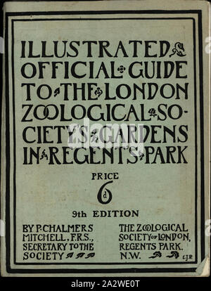 Book - 'Illustrated Official Guide to the London Zoological Society's Gardens in Regent's Park', London, England, 1911, 'Illustrated Official Guide to the London Zoological Society's Gardens in Regent's Park' is a booklet issued by the Zoological Society of London, in England in 1911. It provides maps of the Zoological Gardens as well as information and photographs of the many animals living in the Gardens. This is one of about eighty travel brochures, maps, railway time tables - Stock Photo