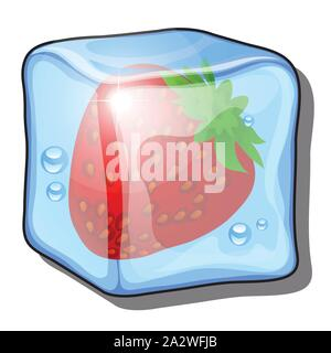 Frozen red berry of strawberry isolated on white background. Fruit in the ice cube. Healthy and delicious organic fitness nutrition. Vector cartoon cl - Stock Photo