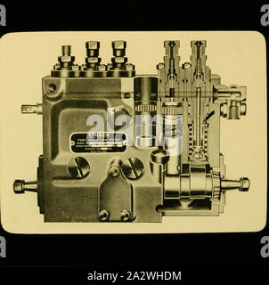Lantern Slide - Castlemaine School of Mines & Industries, Drawing, Timken Fuel Injection Pump, circa 1947, Black and white lantern slide of machine elements. One of a group of slides used at the Castlemaine School of Mines & Industries - Stock Photo