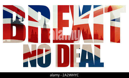 Brexit, No Deal title with union jack flag and houses of parliament. - Stock Photo