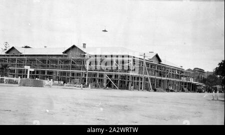 Negative - Swan Hill, Victoria, circa 1926, The Royal Hotel, Swan Hill, nearing completion - Stock Photo