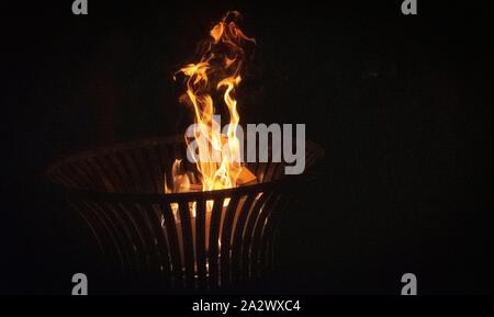 burning logs in firepit great background photos for meditation music - Stock Photo