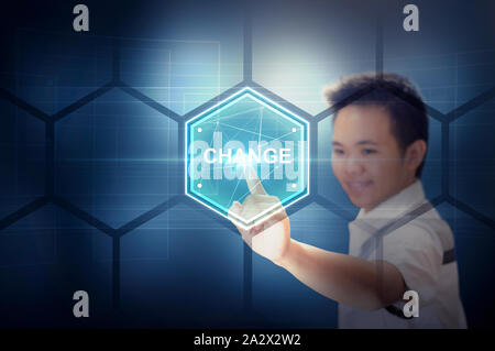 Young Man Touching a Hexagon Plate Virtual Button On a Virtual Hologram Screen. Modern Technology and Futuristic Concept. Man