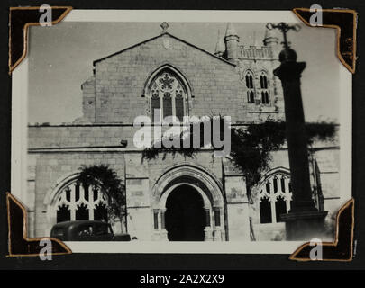 Photograph - Exterior View of 'St George's Cathedral', Jerusalem, Sister Isabel Erskine Plante, World War II, 1941, One of 135 black and white photographs contained in a World War II-era photograph album, featuring photographs of Sister Isabel Erskine Plante in uniform, on service views of the Middle East and New Guinea - World War II. The album belonged to Sister Isabel Erskine Plante, a nurse at the 7th Australian General Hospital in Palestine - Stock Photo