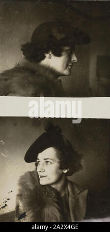 Photograph - Portraits of a Woman, Victoria, circa 1930s, Black and white image featuring two portraits of a woman wearing a hat and furs. in December 1899 and began a strong association with Lorne - Stock Photo