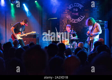Brudenell Social Club, Leeds, UK. 3rd October 2019. US indie band Sebadoh in concert. Left to right Jason Loewenstein, Bob D'Amico, Lou Barlow. Credit John Bentley/Alamy Live News. - Stock Photo