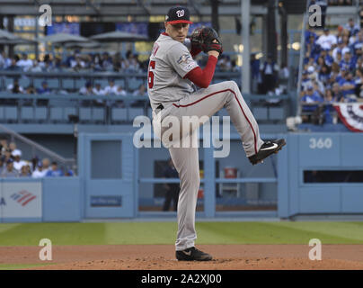 Los Angeles, United States. 03rd Oct, 2019. Washington Nationals starting pitcher Patrick Corbin throws in the first inning of the MLB National League Division Series game with the Los Angeles Dodgers at Dodger Stadium in Los Angeles on Thursday, October 3, 2019. Photo by Jim Ruymen/UPI. Credit: UPI/Alamy Live News - Stock Photo