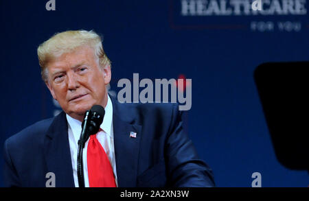 The Villages, United States. 03rd Oct, 2019. U.S. President Donald Trump gives remarks on his administration's health policy and his plans to protect and improve Medicare at the Sharon L. Morse Performing Arts Center on October 3, 2019 in The Villages, Florida. Credit: Paul Hennessy/Alamy Live News - Stock Photo