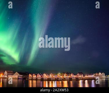Aurora Borealis (Northern Lights) over Svolvaer, Lofoten Islands, Norway. - Stock Photo