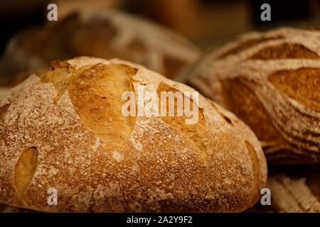 Fresh round rye bread with crispy crust. Rustic organic food. Close-up, selective focus. - Stock Photo