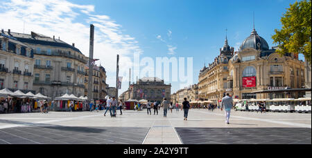 MONTPELLIER, FRANCE - SEPTEMBER 19, 2019: A view of the Place de la Comedie square in Montpellier, France, the main square in the city, with the Comed - Stock Photo