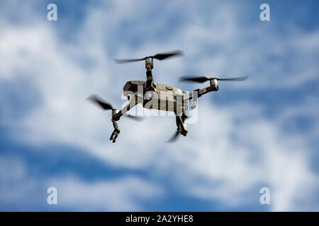 Stock picture dated September 2019 shows DJI Mavic 2 Pro zoom drone flying in Cambridgeshire UK. - Stock Photo