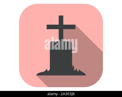 Tomb icon with long shadow. Gravestone flat style. Halloween, October 31st. Vector illustration - Stock Photo