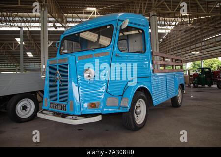 Nakhon Pathom, Thailand - August 3, 2019: Vintage Citroen HY truck exhibit at vintage car collector garage in Nakhon Pathom province - Stock Photo