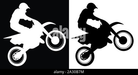 Motocross Rider and Motorcycle Silhouette Isolated Vector Illustration - Stock Photo