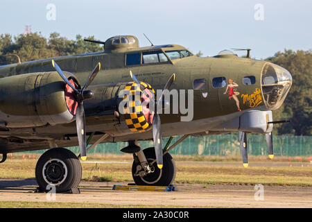 KLEINE-BROGEL, BELGIUM - SEP 14, 2019: Boeing B-17 Flying Fortress US Air Force WW2 bomber plane onthe tarmac of Kleine-Brogel Airbase. - Stock Photo