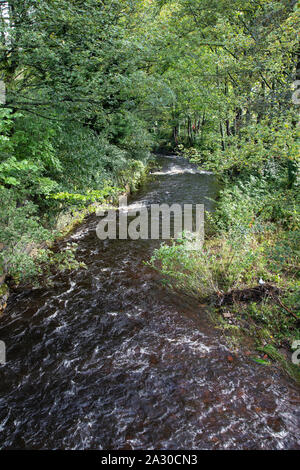 View of the River Holme running through the centre of Holmfirth, a small town in West Yorkshire famed for the Last of the Summer Wine BBC sitcom - Stock Photo