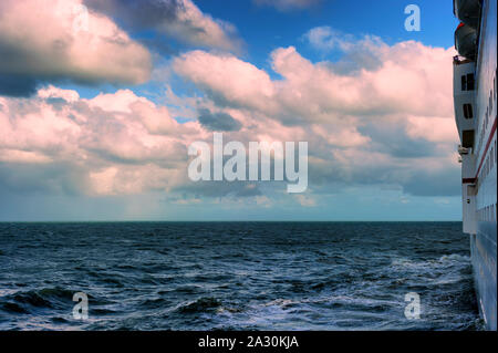 Atlantic Ocean just off Jacksonville Florida, seen from Cabin outdoor balcony on a cruise ship. - Stock Photo