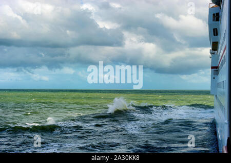 Alantic Ocean just off Jacksonville Florida, seen from Cabin outdoor balcony on a cruise ship. - Stock Photo
