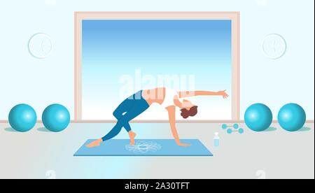 Vector of a fit young woman practicing yoga and pilates - Stock Photo