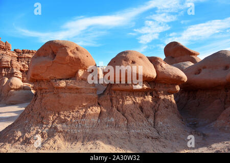 Goblin Valley Utah State Parks USA. Is inhabited by strange and unique rock sculptures, carved by wind and water - Stock Photo