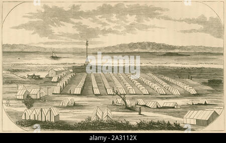 Antique 1866 engraving, Camp of the 104th Pennsylvania Regiment on Morris Island, South Carolina. SOURCE: ORIGINAL ENGRAVING. - Stock Photo