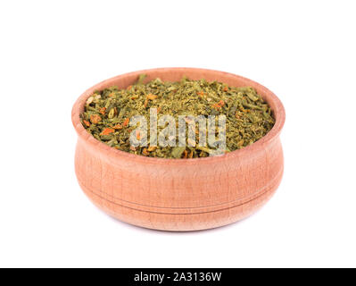 Mixed Italian Herbs Seasoning in a wooden bowl isolated on white background. Dried Herbs Seasoning, ingredient for cooking. - Stock Photo