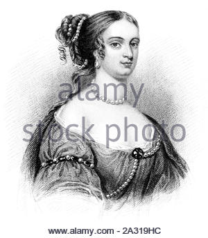 Rachel Wriothesley portrait, Lady Russell, 1636 – 1723, was an English noblewoman, heiress, and author, vintage illustration from 1850 - Stock Photo