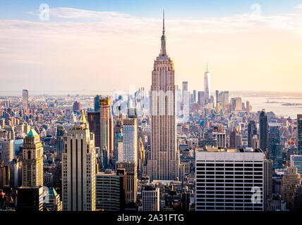 The Empire State Building towers over Manhattan in New York City, USA.
