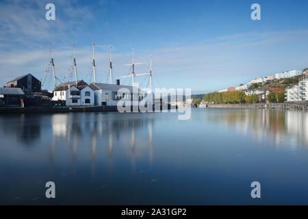 Bristol Floating Harbour and the SS Great Britain. Bristol. UK. Also showing the new Being Brunel Museum, opened in 2018. - Stock Photo