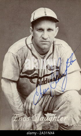 Enos 'Country' Slaughter was a Major League baseball player primarily with the St. Louis Cardinals in the 1940s and 50s and was elected to the Baseball Hall of Fame. - Stock Photo