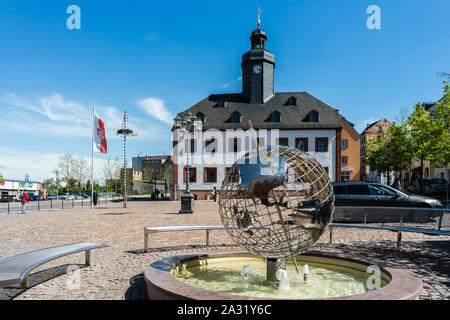 Old town hall Meerane with globe - Stock Photo