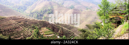 Famous View at the Longshen Rice Terraces - Stock Photo
