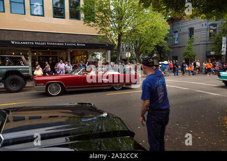 MCMINNVILLE, OR, USA - AUG 24, 2019: A vintage car rally in the center of downtown Mcminnville, OR. - Stock Photo