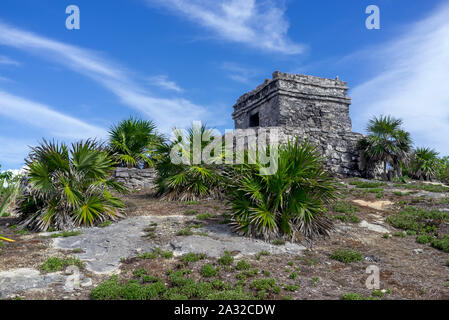 Views of the Yucatan Ruins of Tulum in the Caribbean on a sunny day. Mexico