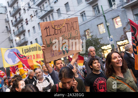 Milan,Italy - 27 September, 2019: Milano Duomo Square, Global strike for climate change. Students voice their friday for future, with Greta Thunberg