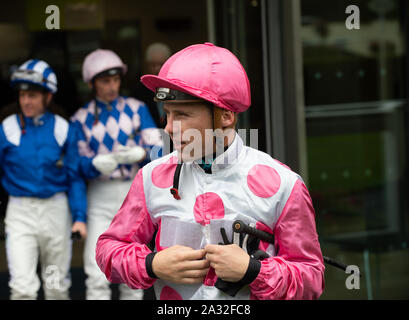 Autumn Racing Weekend & Ascot Beer Festival, Ascot Racecourse, Ascot, Berkshire, UK. 4th October, 2019.  Jockey Stevie Donohoe. Credit: Maureen McLean/Alamy Stock Photo
