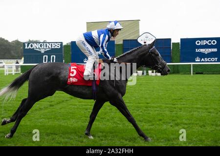 Autumn Racing Weekend & Ascot Beer Festival, Ascot Racecourse, Ascot, Berkshire, UK. 4th October, 2019.  Jockey Silvestre De Sousa rides horse Fox Leicester. Credit: Maureen McLean/Alamy