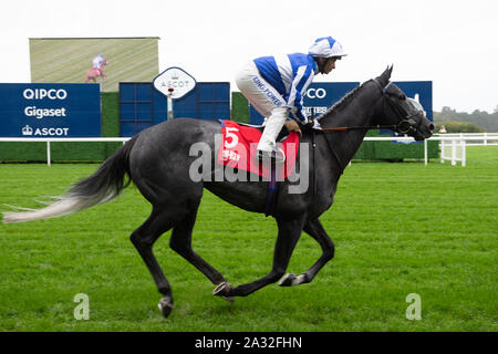 Autumn Racing Weekend & Ascot Beer Festival, Ascot Racecourse, Ascot, Berkshire, UK. 4th October, 2019.  Jockey Silvestre De Sousa rides horse Fox Leicester. Credit: Maureen McLean/Alamy Stock Photo