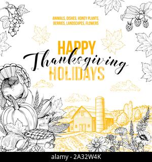 Happy holidays greeting card vector template. Seasonal tradition, thanksgiving celebration postcard layout with typography. Farm animals, honey plants, flowers and dishes hand drawn illustration - Stock Photo