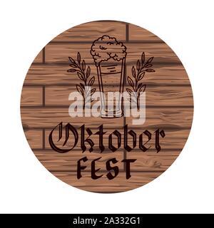 beer glass in wooden background oktoberfest celebration - Stock Photo